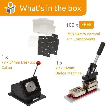 G Series 79 x 54mm Vertical Pin badge Starter Pack- Includes Machine, Desktop Cutter and 100 FREE Components