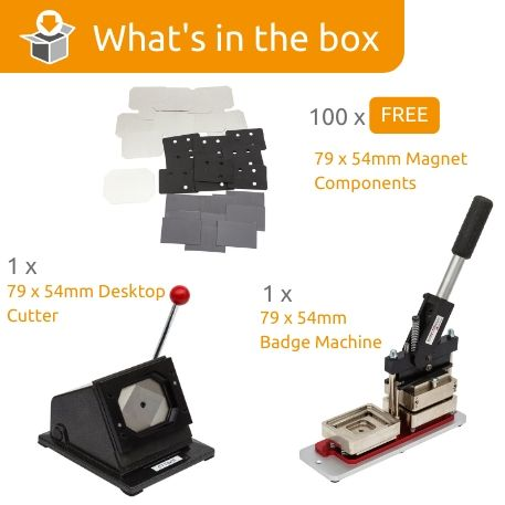 G Series 79 x 54mm Magnetic badge Starter Pack- Includes Machine, Desktop Cutter and 100 FREE Components Thumbnail