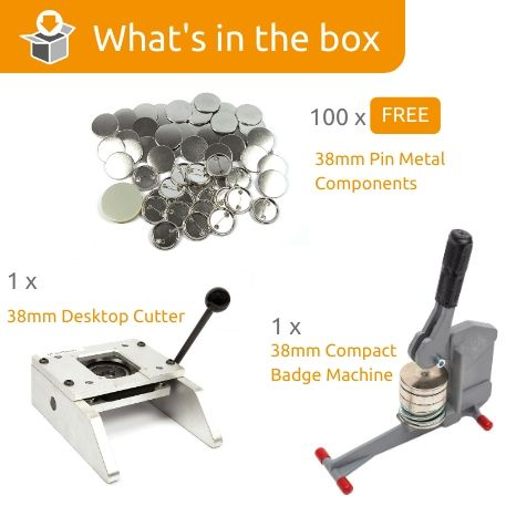 G Series 38mm Pin Back Starter Pack- Includes Machine, Desktop Cutter and 100 FREE components