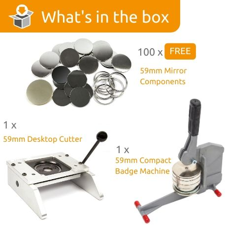 G Series 59mm Pocket Mirror Starter Pack- Includes Machine, Desktop Cutter and 100 FREE components