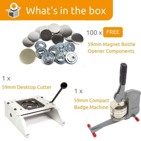 G Series 59mm Magnetic Bottle Opener Starter Pack- Includes Machine, Desktop Cutter and 100 FREE components
