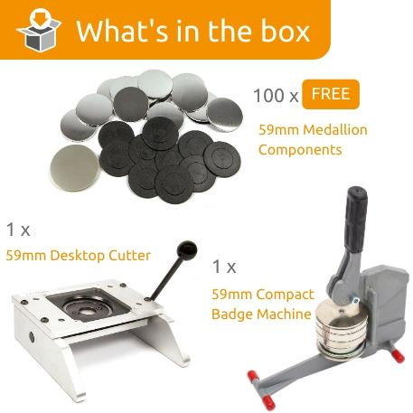 G Series 59mm Medallion Starter Pack- Includes Machine, Desktop Cutter and 100 FREE components